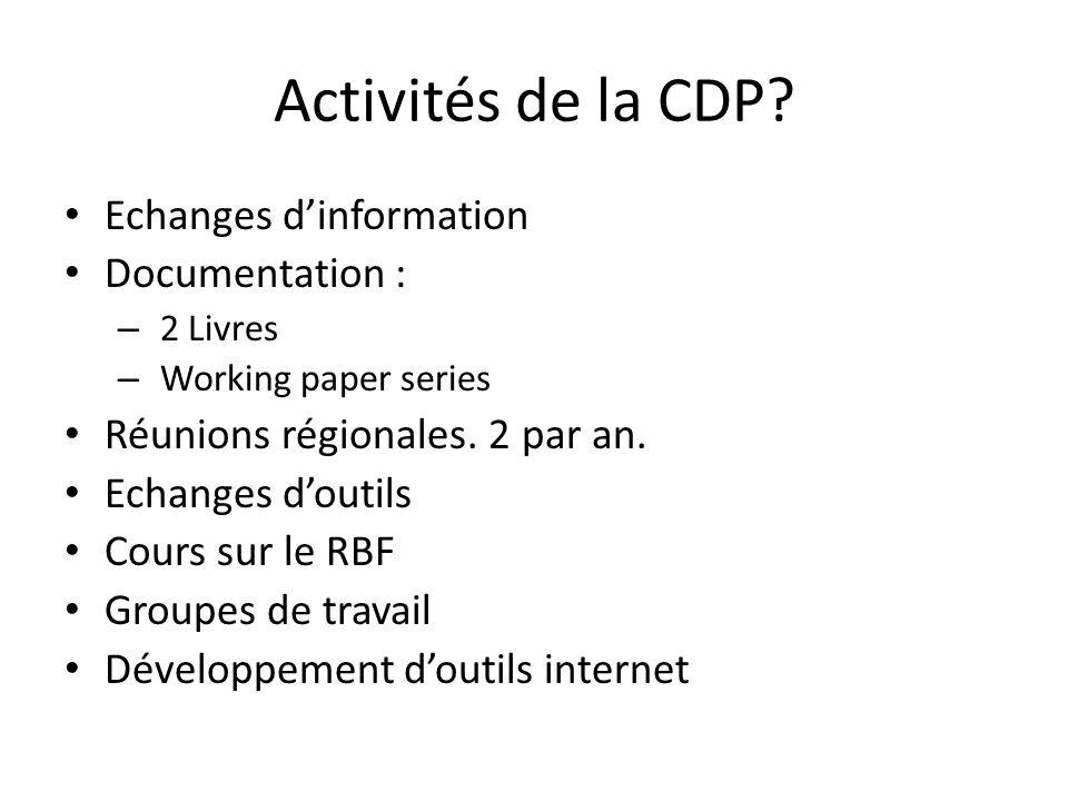 Activités de la CDP.