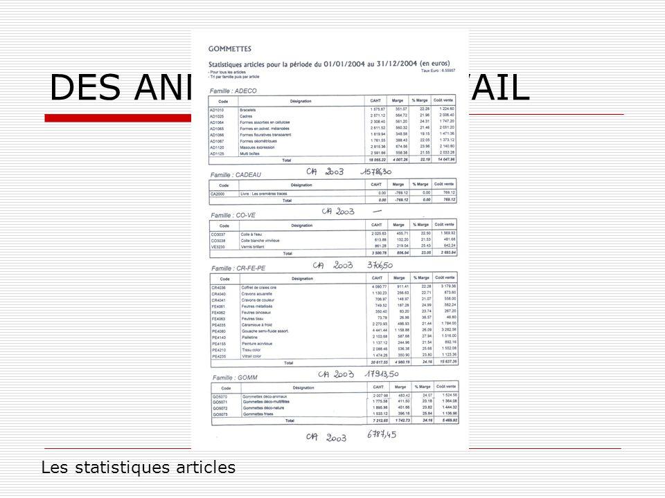 DES ANNEXES DE TRAVAIL Les statistiques articles