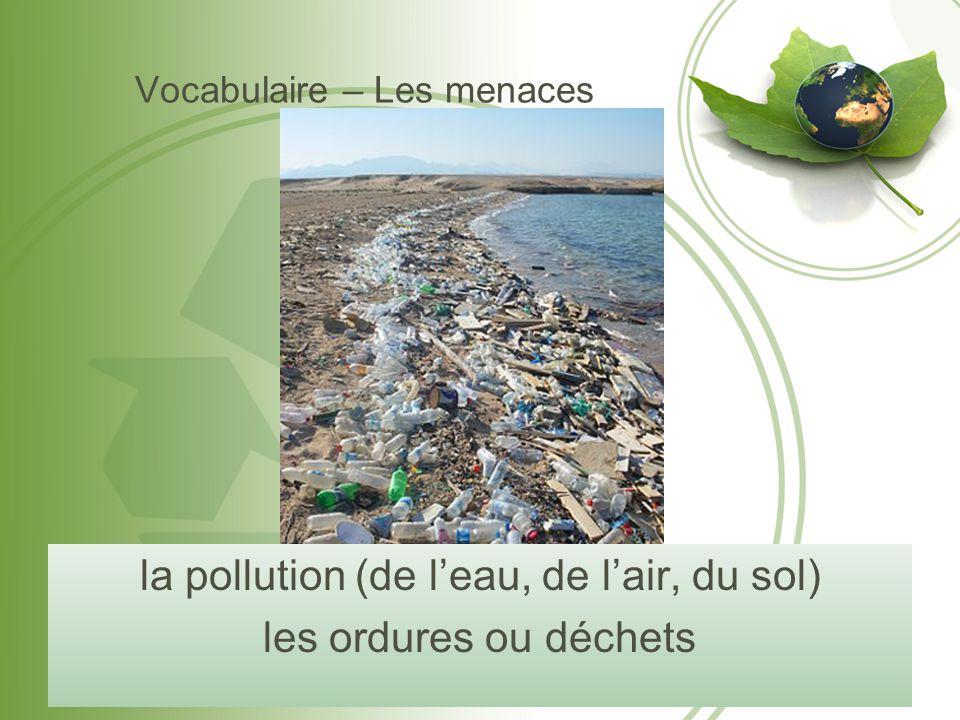 Vocabulaire – Les menaces la pollution (de l'eau, de l'air, du sol) les ordures ou déchets
