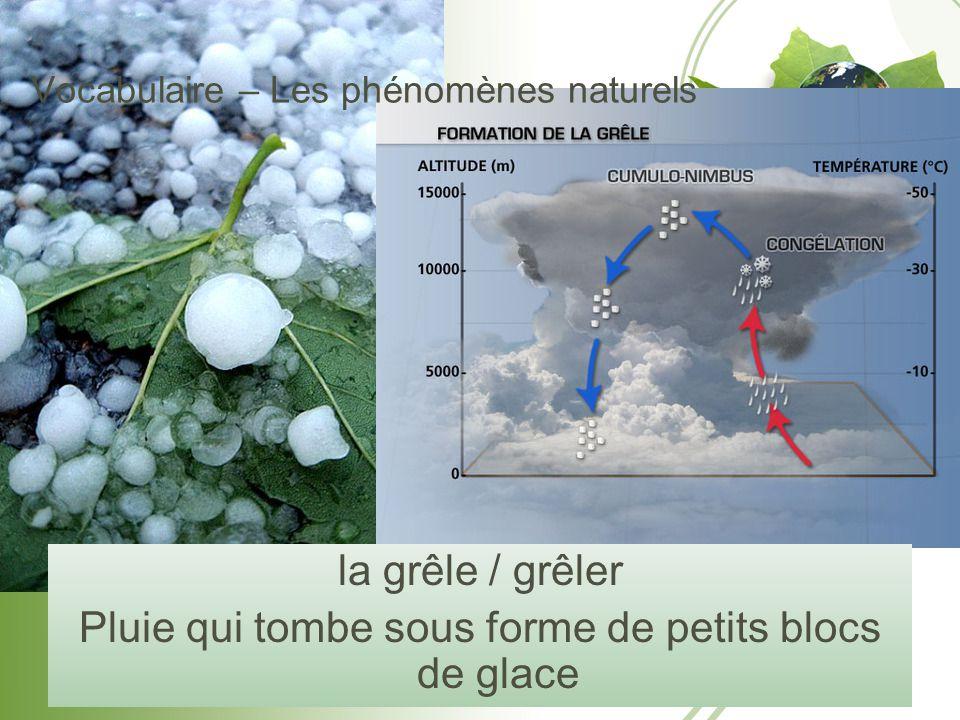 Vocabulaire – Les phénomènes naturels la grêle / grêler Pluie qui tombe sous forme de petits blocs de glace