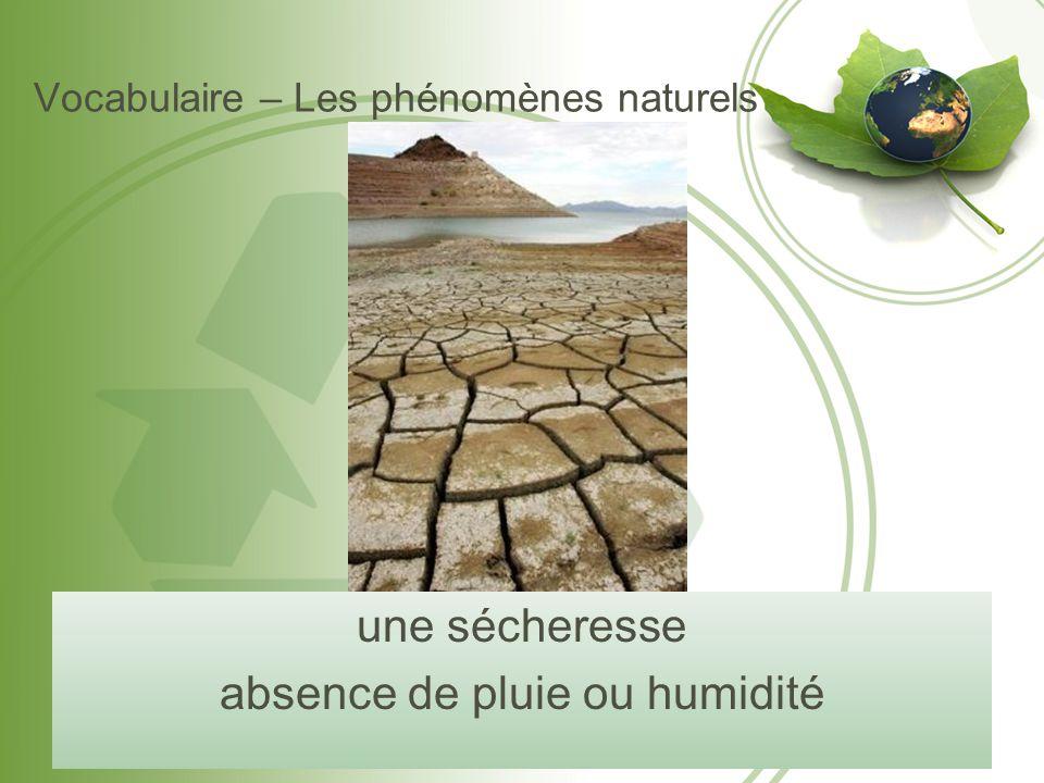 Vocabulaire – Les phénomènes naturels une sécheresse absence de pluie ou humidité