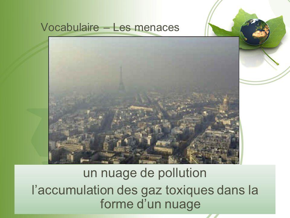 Vocabulaire – Les menaces un nuage de pollution l'accumulation des gaz toxiques dans la forme d'un nuage
