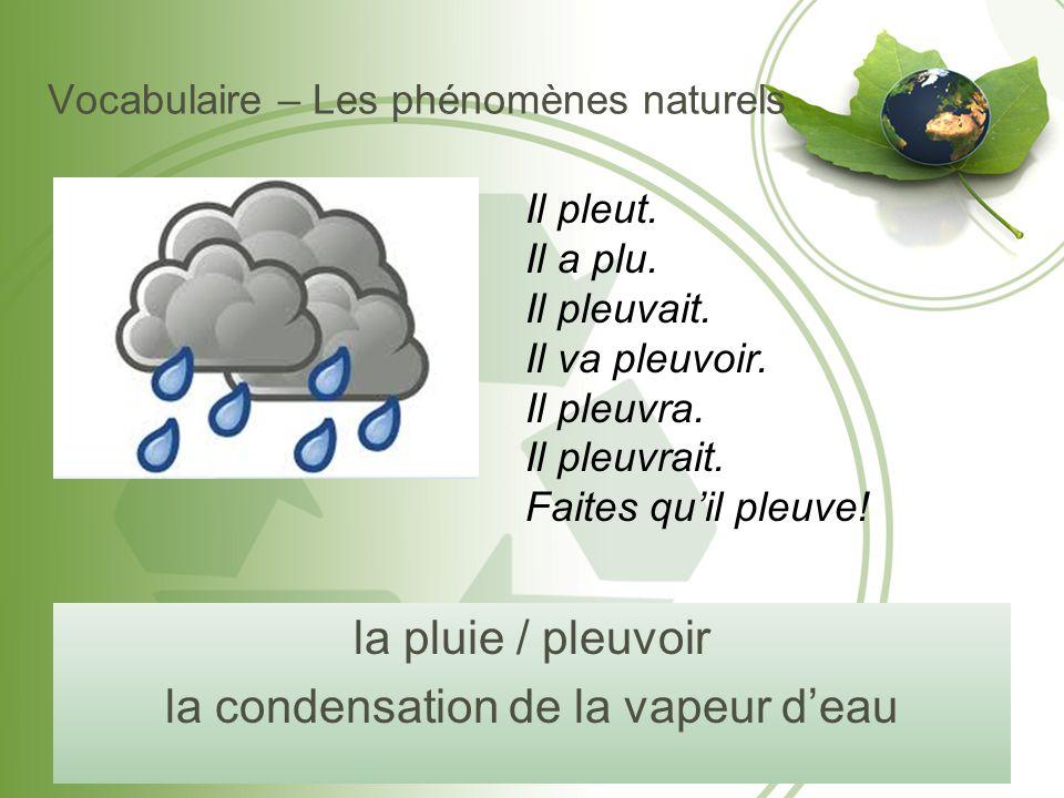 Vocabulaire – Les phénomènes naturels la pluie / pleuvoir la condensation de la vapeur d'eau Il pleut. Il a plu. Il pleuvait. Il va pleuvoir. Il pleuv