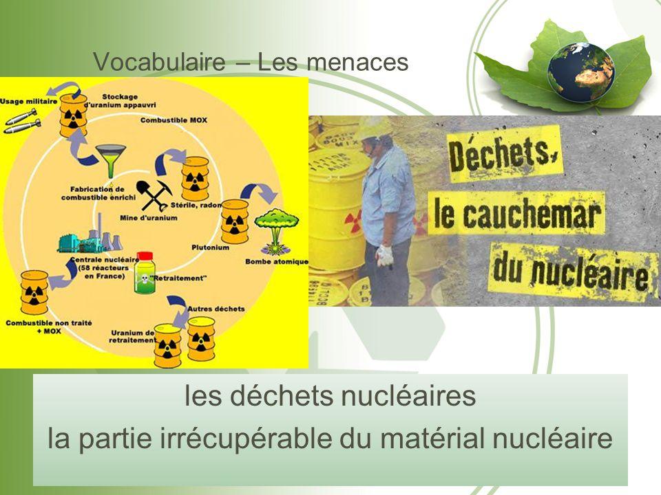 Vocabulaire – Les menaces les déchets nucléaires la partie irrécupérable du matérial nucléaire