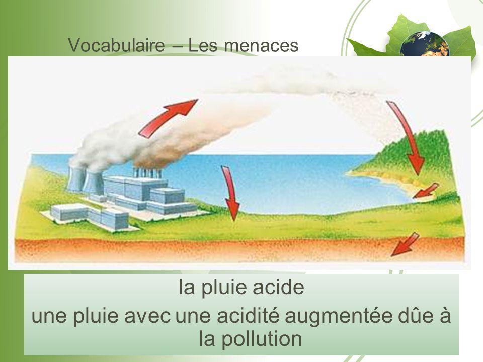 Vocabulaire – Les menaces la pluie acide une pluie avec une acidité augmentée dûe à la pollution