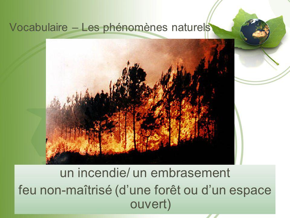 Vocabulaire – Les phénomènes naturels un incendie/ un embrasement feu non-maîtrisé (d'une forêt ou d'un espace ouvert)