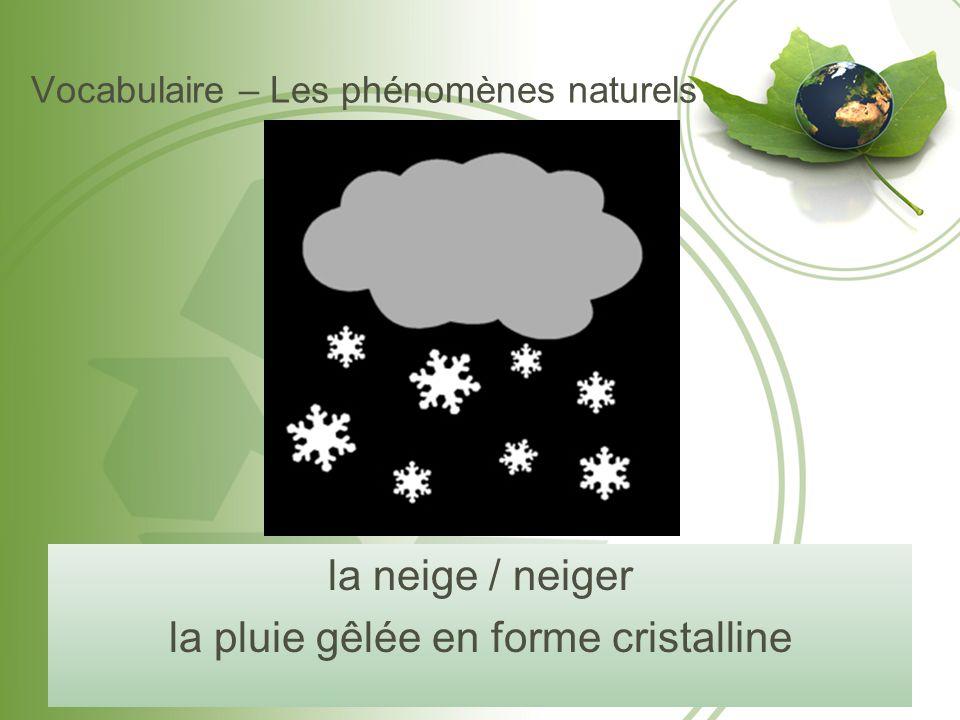 Vocabulaire – Les phénomènes naturels la neige / neiger la pluie gêlée en forme cristalline