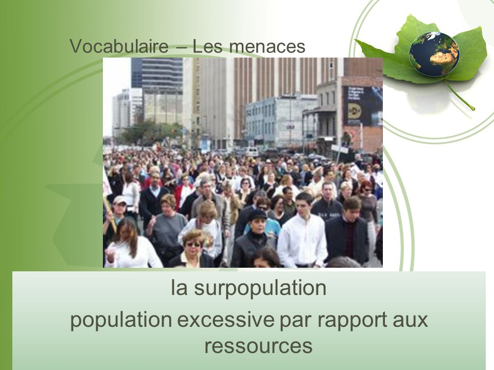 Vocabulaire – Les menaces la pollution (de l'eau, de l'air, du sol) les ordures ou déchets