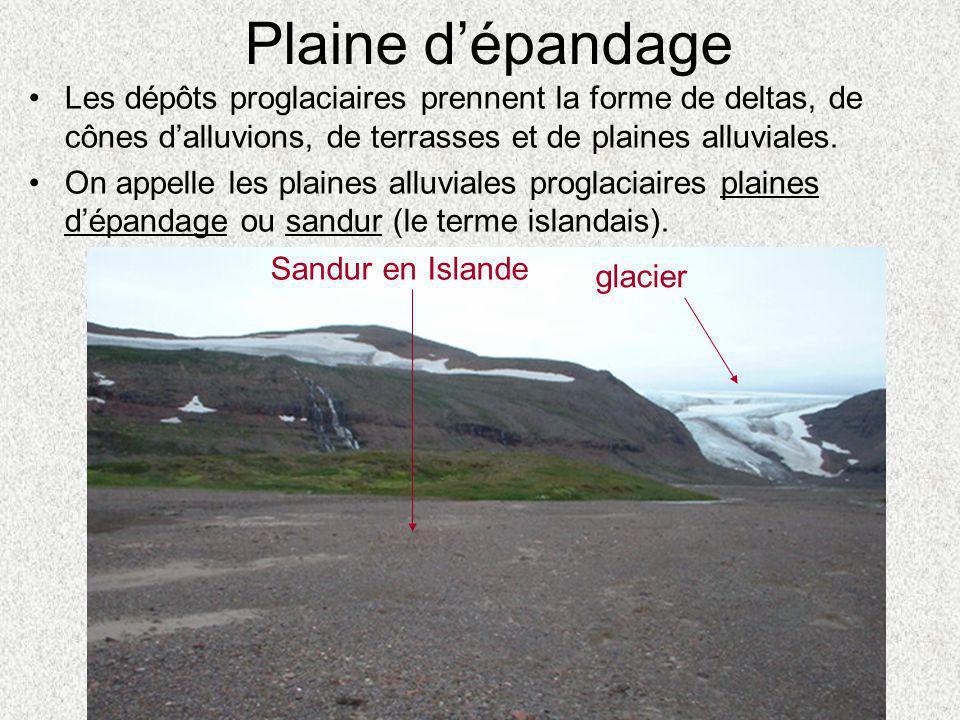 •Les dépôts proglaciaires prennent la forme de deltas, de cônes d'alluvions, de terrasses et de plaines alluviales. •On appelle les plaines alluviales