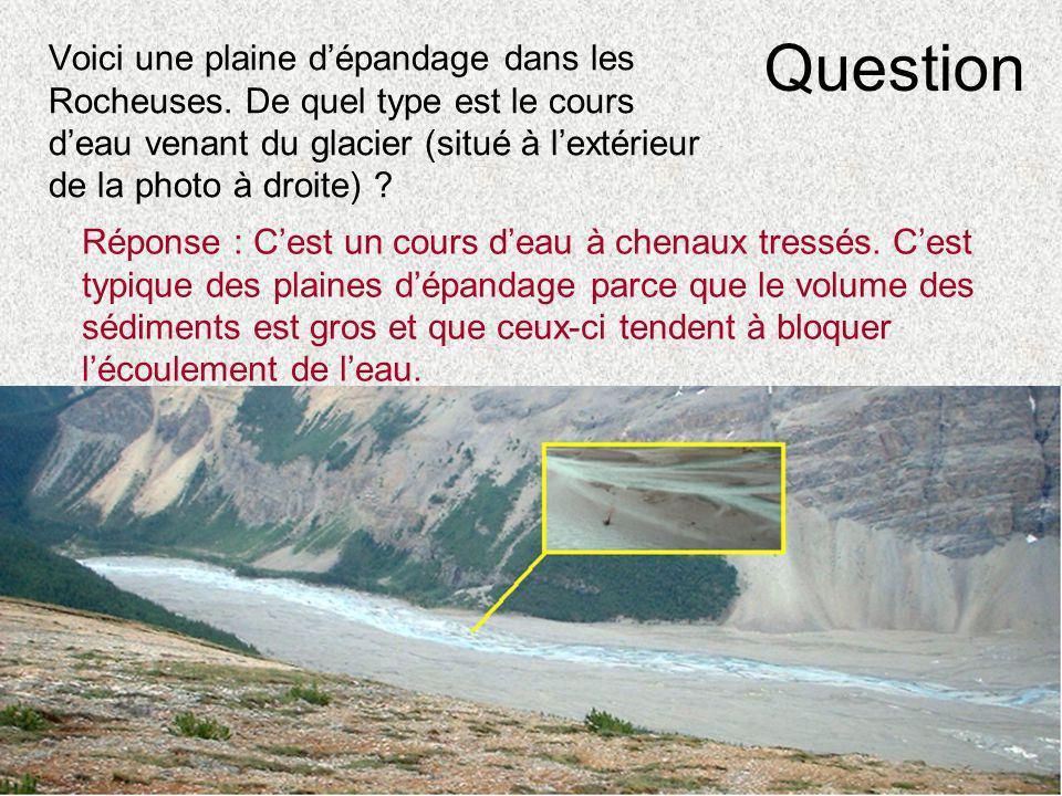 Question Voici une plaine d'épandage dans les Rocheuses. De quel type est le cours d'eau venant du glacier (situé à l'extérieur de la photo à droite)