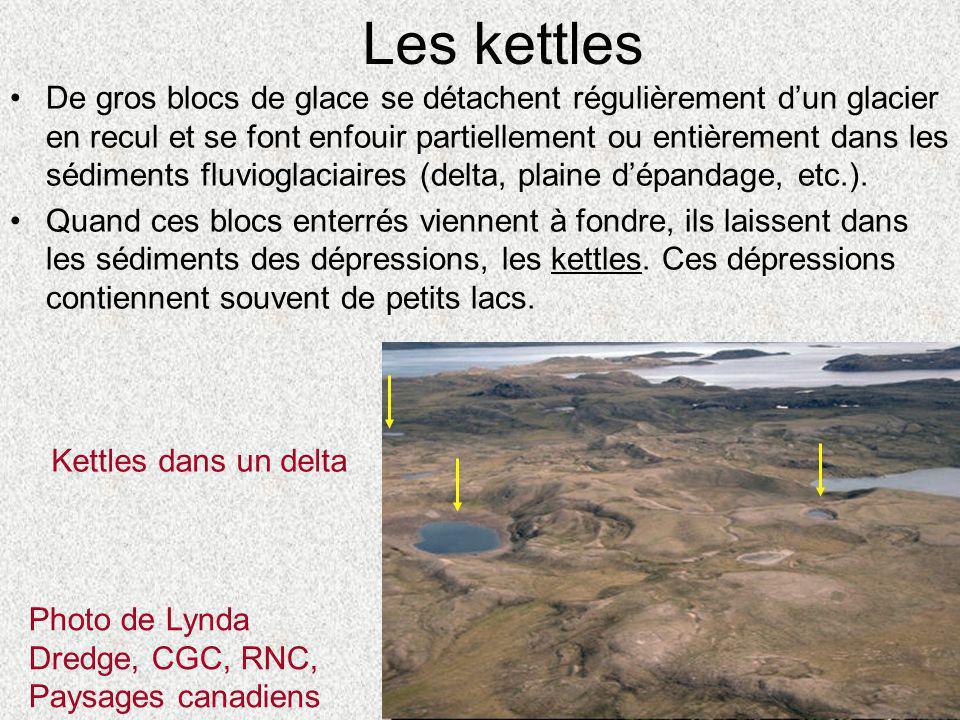 Les kettles Photo de Lynda Dredge, CGC, RNC, Paysages canadiens Kettles dans un delta •De gros blocs de glace se détachent régulièrement d'un glacier
