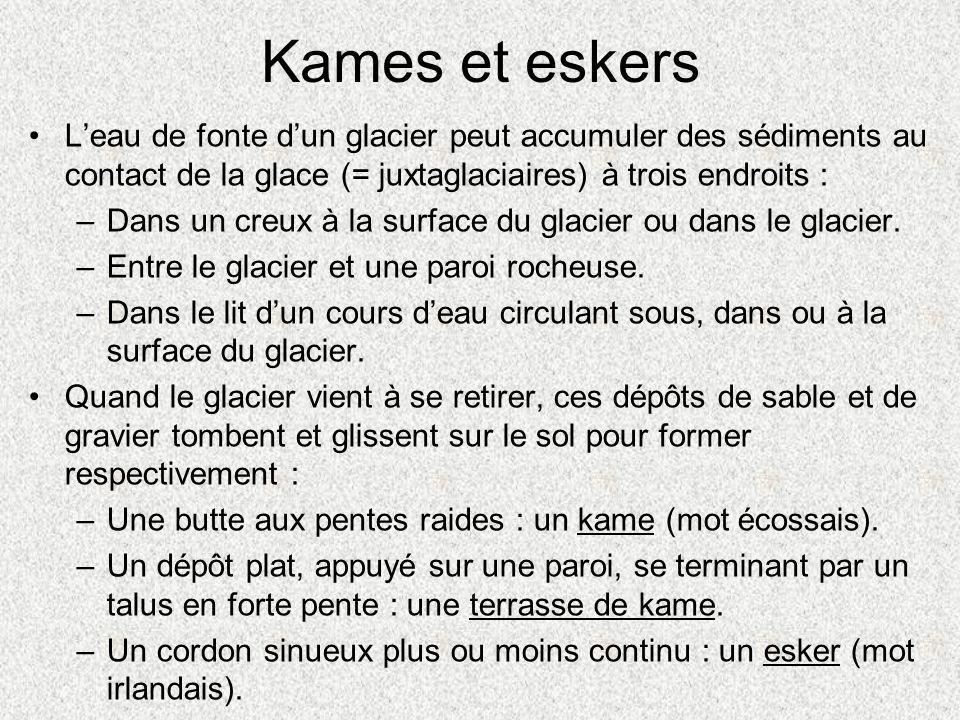 Kames et eskers •L'eau de fonte d'un glacier peut accumuler des sédiments au contact de la glace (= juxtaglaciaires) à trois endroits : –Dans un creux