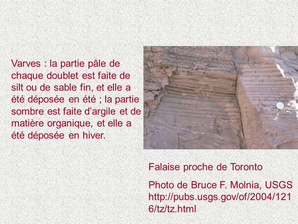 Varves : la partie pâle de chaque doublet est faite de silt ou de sable fin, et elle a été déposée en été ; la partie sombre est faite d'argile et de