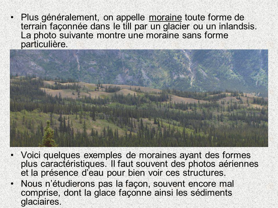 •Plus généralement, on appelle moraine toute forme de terrain façonnée dans le till par un glacier ou un inlandsis. La photo suivante montre une morai