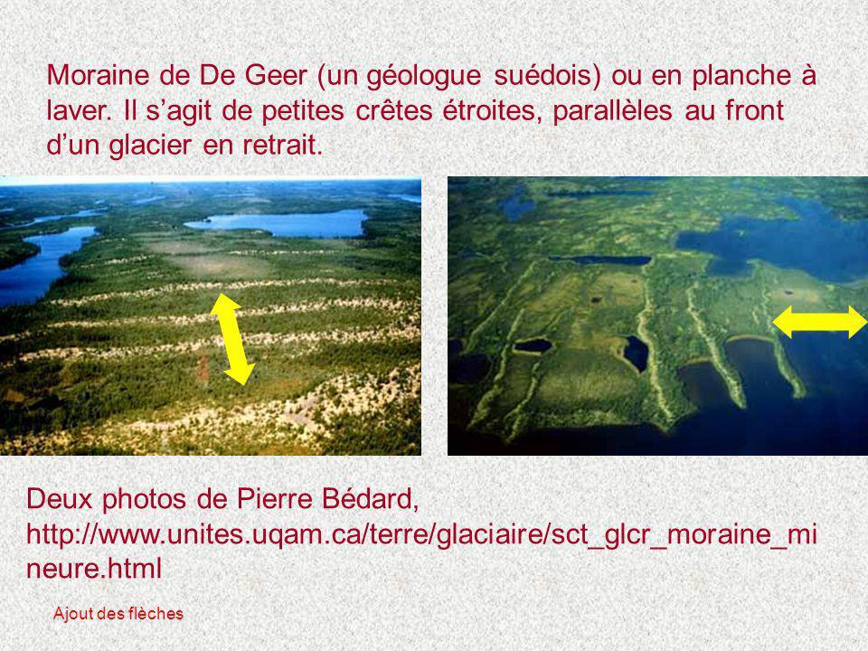 Moraine de De Geer (un géologue suédois) ou en planche à laver. Il s'agit de petites crêtes étroites, parallèles au front d'un glacier en retrait. Deu