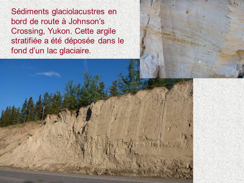 Sédiments glaciolacustres en bord de route à Johnson's Crossing, Yukon. Cette argile stratifiée a été déposée dans le fond d'un lac glaciaire.