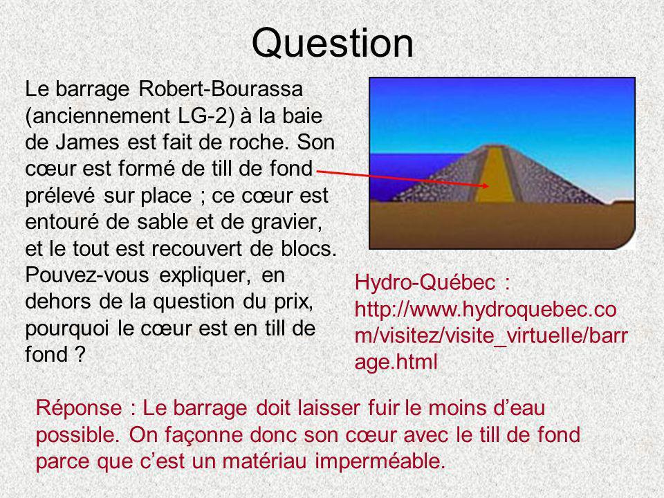 Question Le barrage Robert-Bourassa (anciennement LG-2) à la baie de James est fait de roche. Son cœur est formé de till de fond prélevé sur place ; c