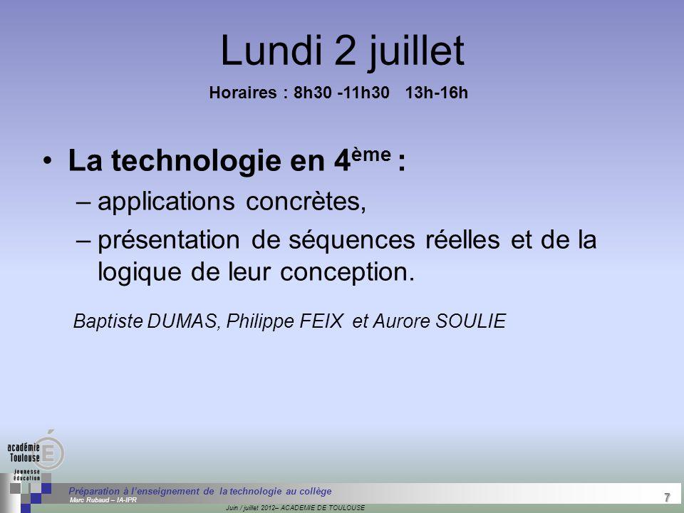 7 Séminaire « Définition de Produits » : méthodologie de définition d'une pièce GREC INITIALES Juin / juillet 2012– ACADEMIE DE TOULOUSE 7 Préparation