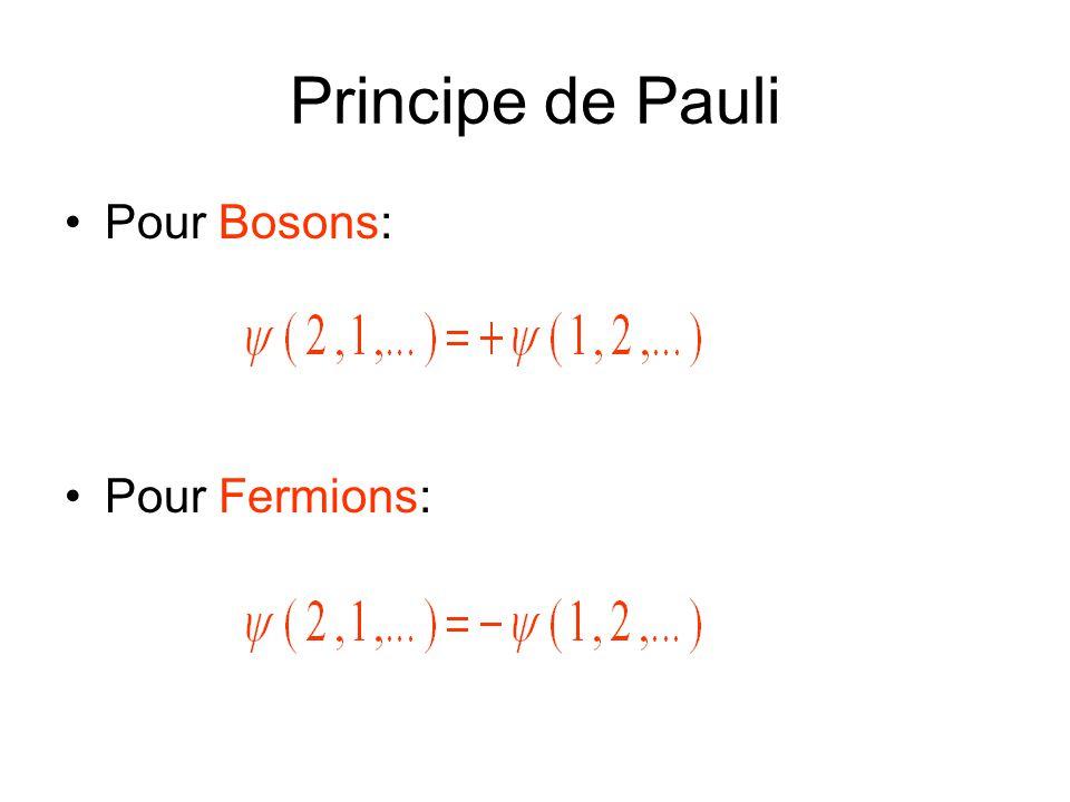 Principe de Pauli •Pour Bosons: •Pour Fermions: