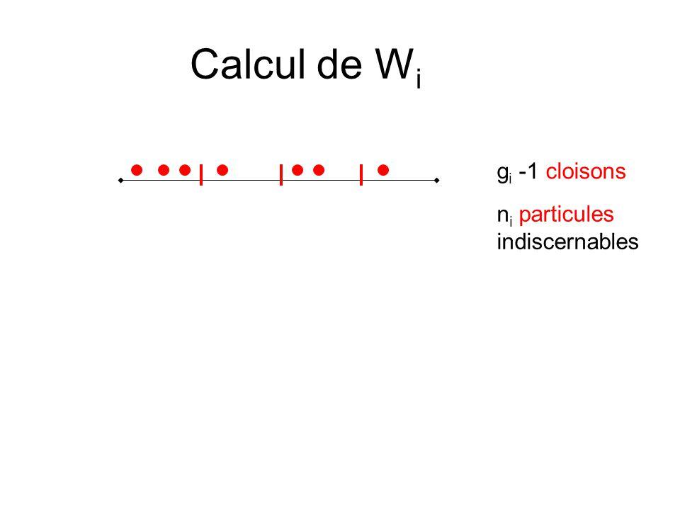 Calcul de W i g i -1 cloisons n i particules indiscernables