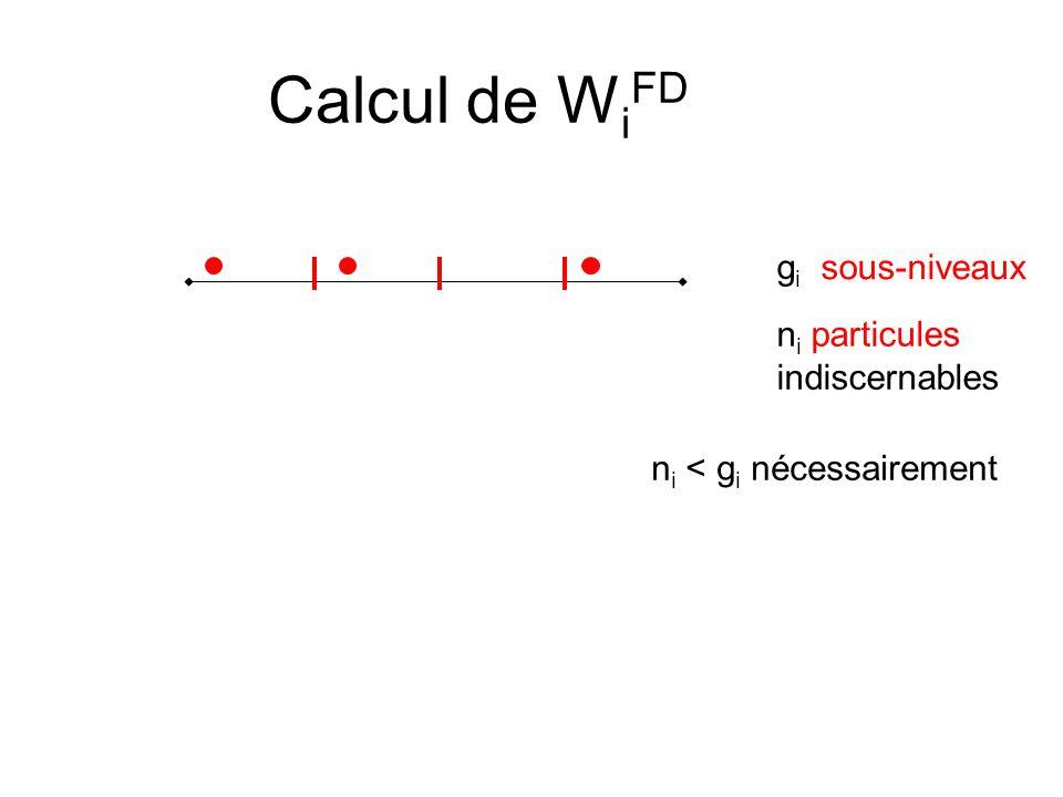 Calcul de W i FD g i sous-niveaux n i particules indiscernables n i < g i nécessairement