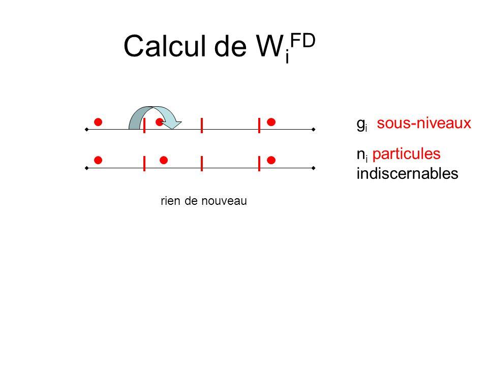 Calcul de W i FD g i sous-niveaux n i particules indiscernables rien de nouveau