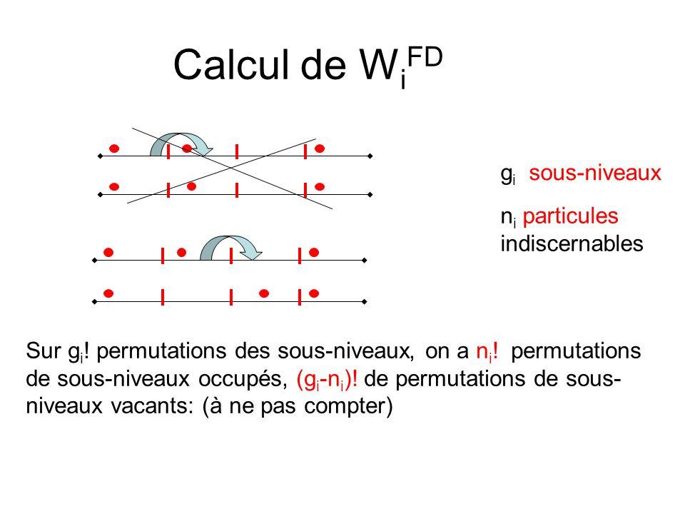 Calcul de W i FD g i sous-niveaux n i particules indiscernables Sur g i .