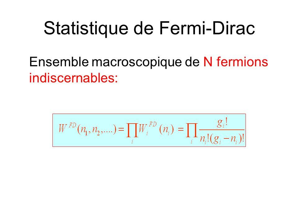 Statistique de Fermi-Dirac Ensemble macroscopique de N fermions indiscernables:
