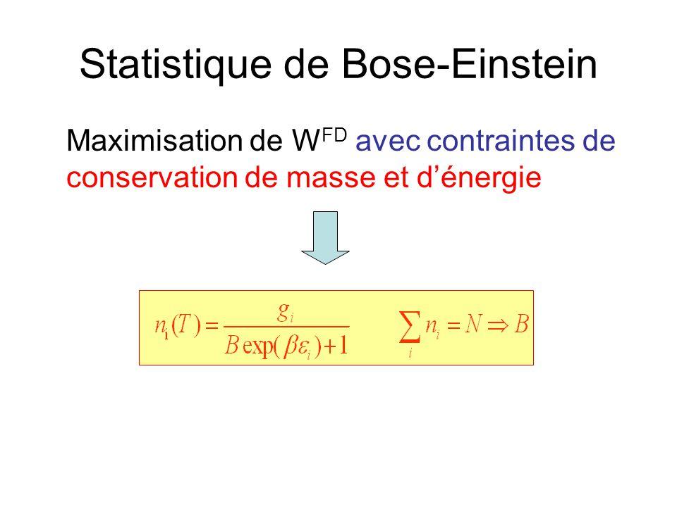 Statistique de Bose-Einstein Maximisation de W FD avec contraintes de conservation de masse et d'énergie
