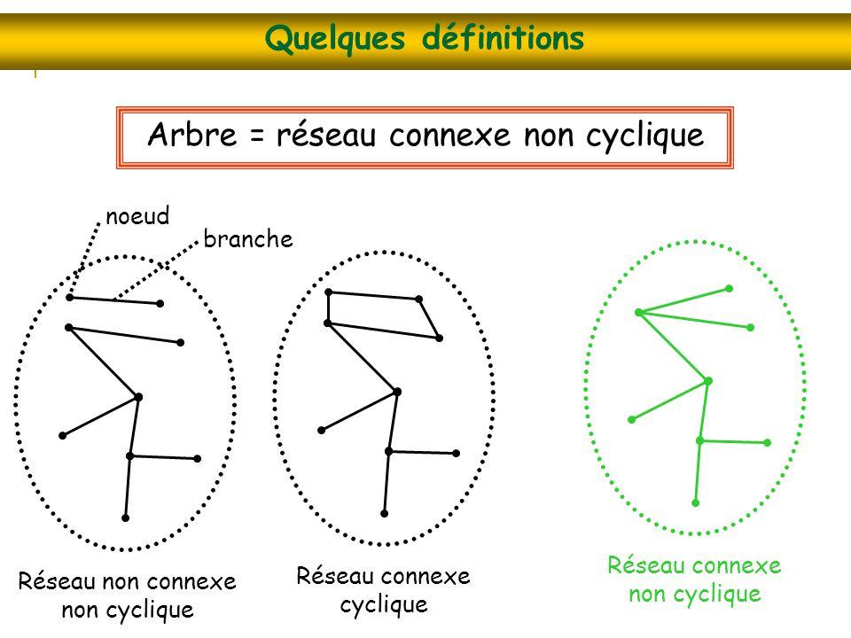 Quelques définitions Arbre = réseau connexe non cyclique Réseau non connexe non cyclique Réseau connexe cyclique Réseau connexe non cyclique branche n