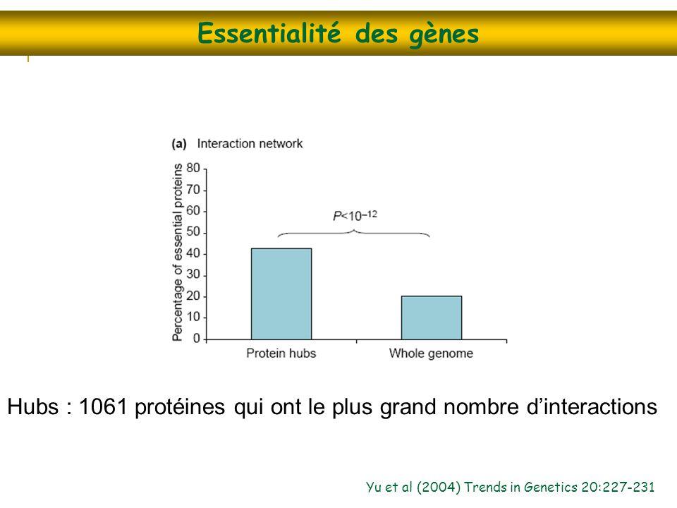 Essentialité des gènes Yu et al (2004) Trends in Genetics 20:227-231 Hubs : 1061 protéines qui ont le plus grand nombre d'interactions