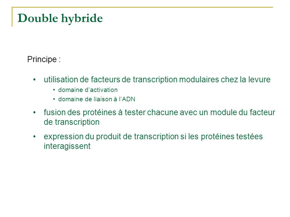 Double hybride DA DL mARN DA : domaine d'activation DL : domaine de liaison à l'ADN TF Système rapporteur Fusion protéines et modules du facteur de transcription Expression du système DA DL prot 1 prot 2 DL prot 3 pas d'expression expression du gène colonies de levures mARN