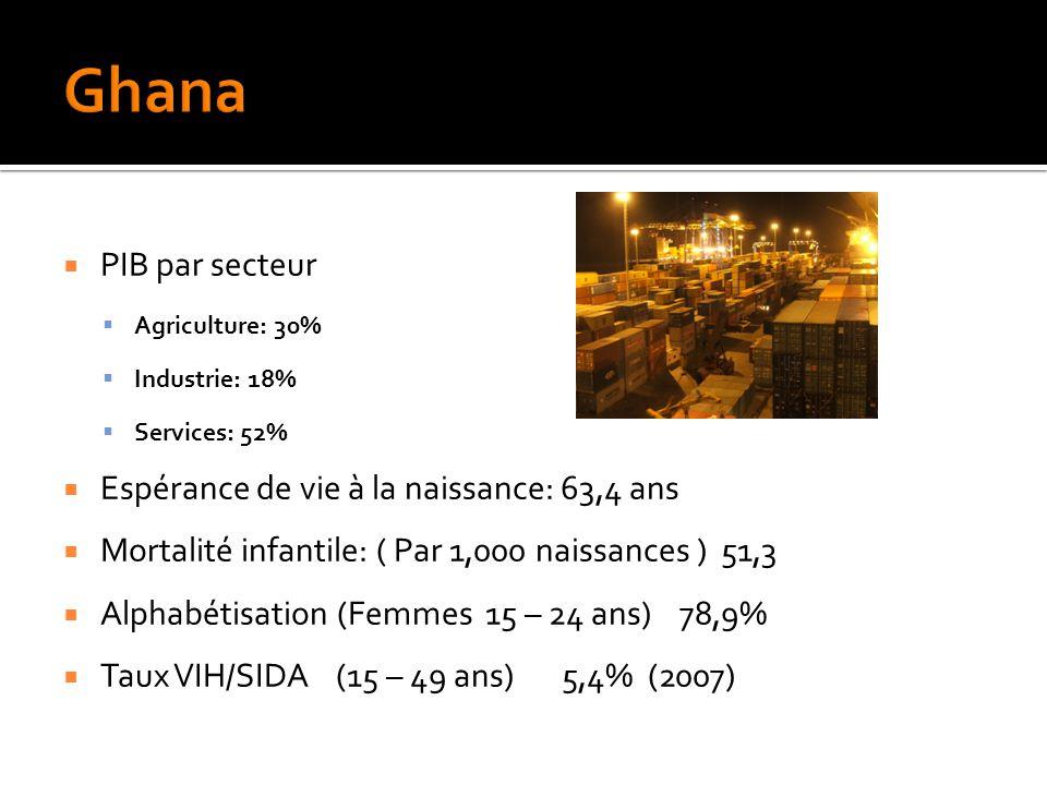  PIB par secteur  Agriculture: 30%  Industrie: 18%  Services: 52%  Espérance de vie à la naissance: 63,4 ans  Mortalité infantile: ( Par 1,000 naissances ) 51,3  Alphabétisation (Femmes 15 – 24 ans) 78,9%  Taux VIH/SIDA (15 – 49 ans) 5,4% (2007)