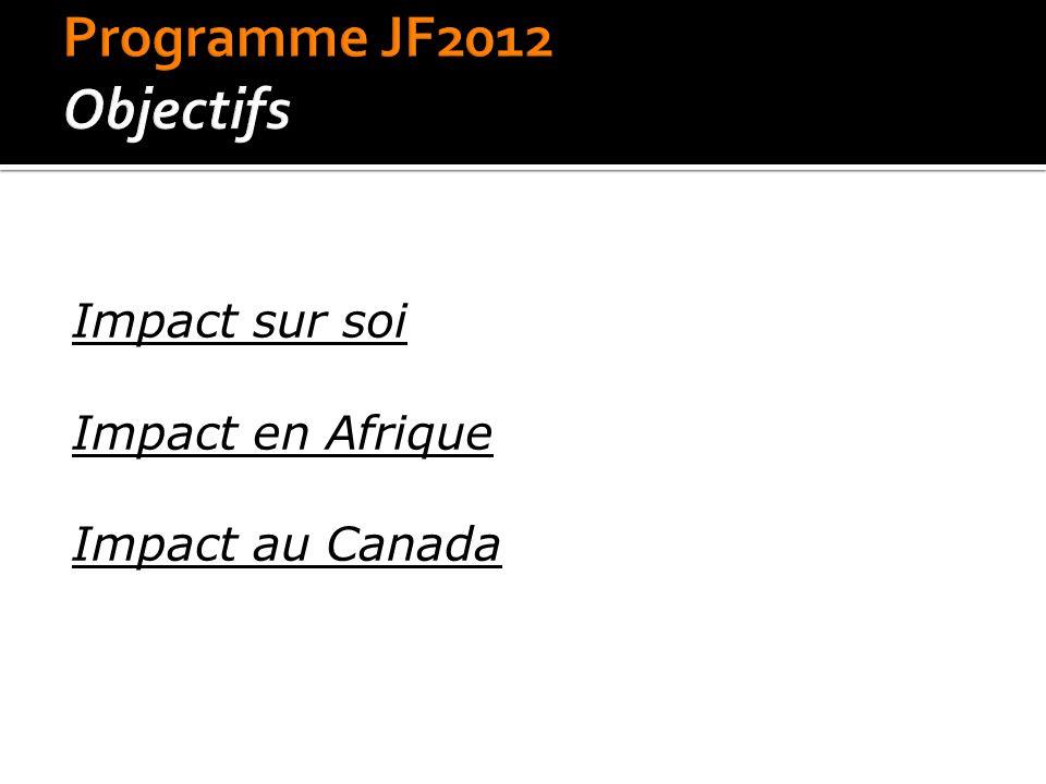•Fin novembre Sélection •Décembre à Avril Préparation •Mai à Août Stage en Afrique •Septembre à Avril 2013 Contribution au retour