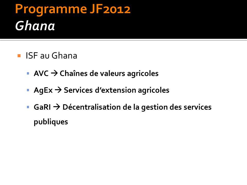  ISF au Ghana  AVC  Chaînes de valeurs agricoles  AgEx  Services d'extension agricoles  GaRI  Décentralisation de la gestion des services publiques