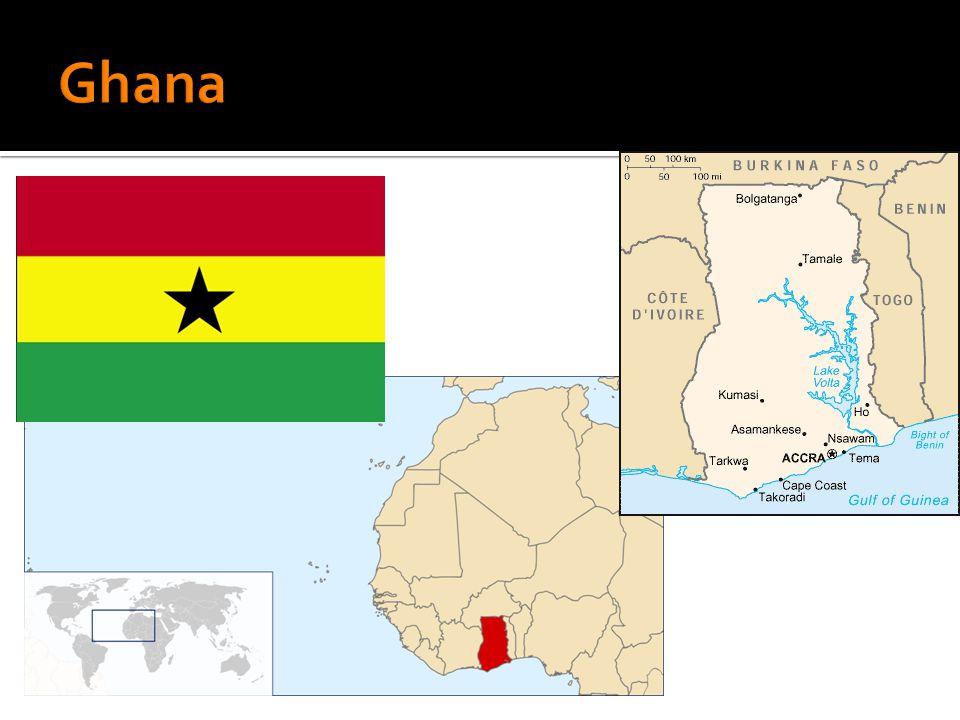  Nom officiel: Republique du Ghana  Status: Pays indépendant depuis 1957  Capitale: Accra  Population: 24 millions d'habitants  Territoire:240 000 km²  Langues: Anglais (officiel), 9 langues supportés par le gouvernemnt  Religions principales: Islam, Catholique, Protestant, croyances traditionnelles