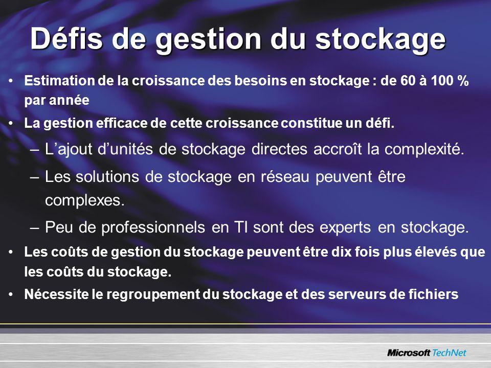 Défis de gestion du stockage •Estimation de la croissance des besoins en stockage : de 60 à 100 % par année •La gestion efficace de cette croissance constitue un défi.