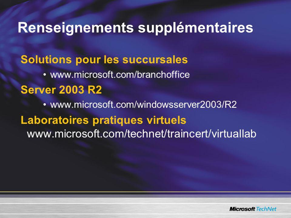 Renseignements supplémentaires Solutions pour les succursales •www.microsoft.com/branchoffice Server 2003 R2 •www.microsoft.com/windowsserver2003/R2 Laboratoires pratiques virtuels www.microsoft.com/technet/traincert/virtuallab