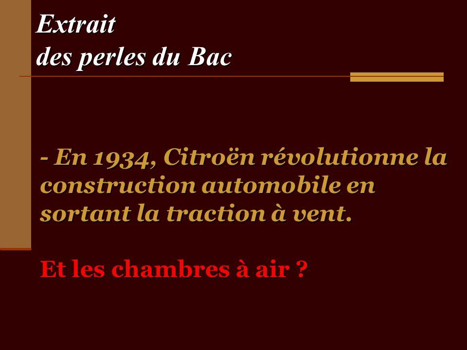 Extrait des perles du Bac - En 1934, Citroën révolutionne la construction automobile en sortant la traction à vent.