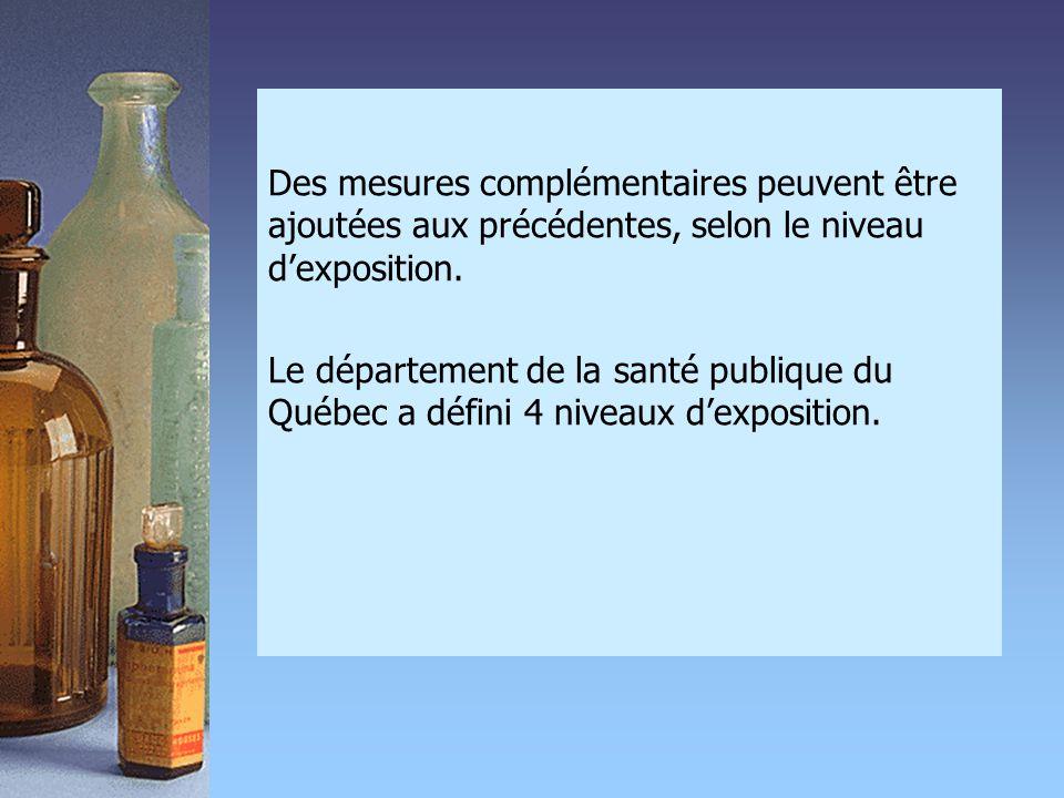 Des mesures complémentaires peuvent être ajoutées aux précédentes, selon le niveau d'exposition. Le département de la santé publique du Québec a défin