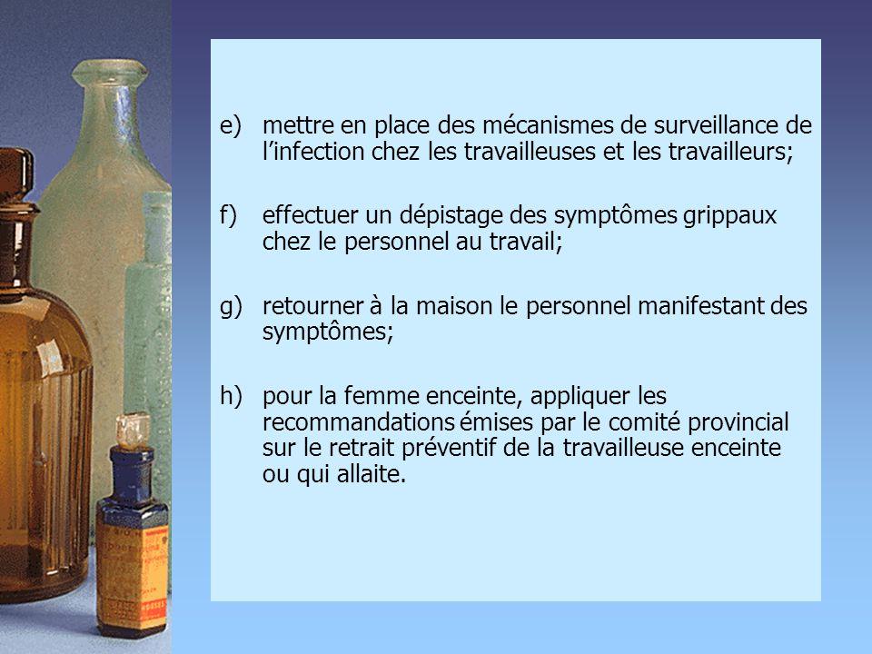 e)mettre en place des mécanismes de surveillance de l'infection chez les travailleuses et les travailleurs; f) effectuer un dépistage des symptômes gr