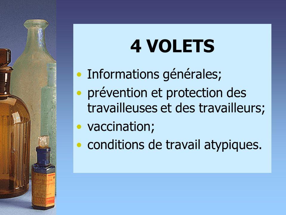 4 VOLETS •Informations générales; •prévention et protection des travailleuses et des travailleurs; •vaccination; •conditions de travail atypiques.