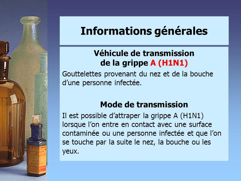 Informations générales Véhicule de transmission de la grippe A (H1N1) Gouttelettes provenant du nez et de la bouche d'une personne infectée. Mode de t