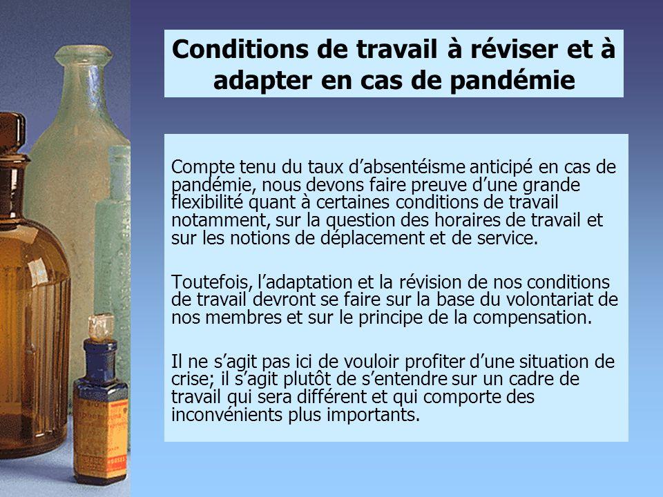 Conditions de travail à réviser et à adapter en cas de pandémie Compte tenu du taux d'absentéisme anticipé en cas de pandémie, nous devons faire preuv