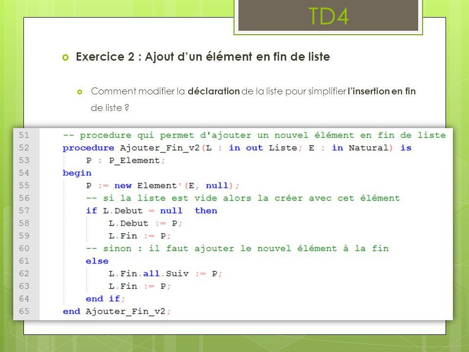 TD4  Exercice 2 : Ajout d'un élément en fin de liste  Comment modifier la déclaration de la liste pour simplifier l'insertion en fin de liste ?