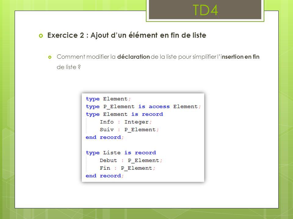 TD4  Exercice 2 : Ajout d'un élément en fin de liste  Comment modifier la déclaration de la liste pour simplifier l'i nsertion en fin de liste