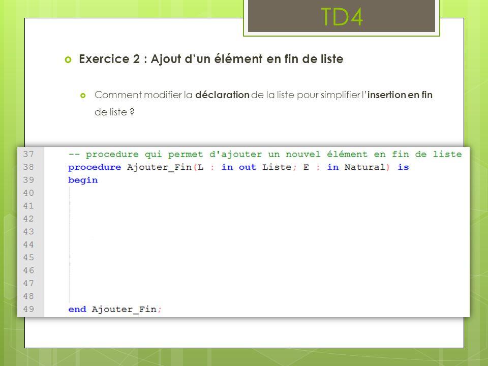 TD4  Exercice 2 : Ajout d'un élément en fin de liste  Comment modifier la déclaration de la liste pour simplifier l' insertion en fin de liste ?