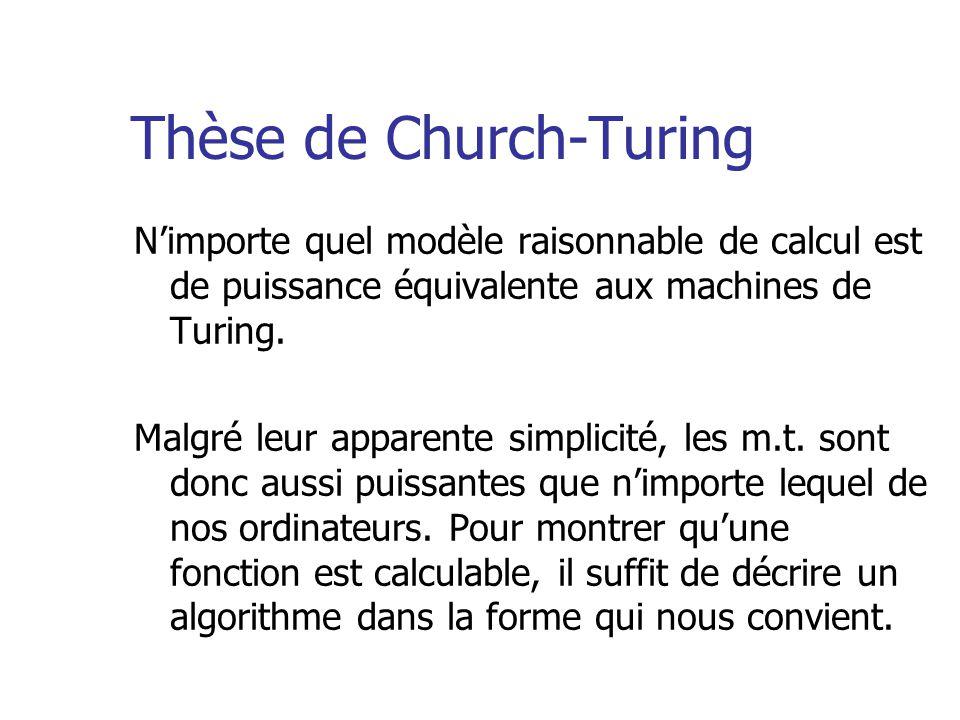 Thèse de Church-Turing N'importe quel modèle raisonnable de calcul est de puissance équivalente aux machines de Turing.