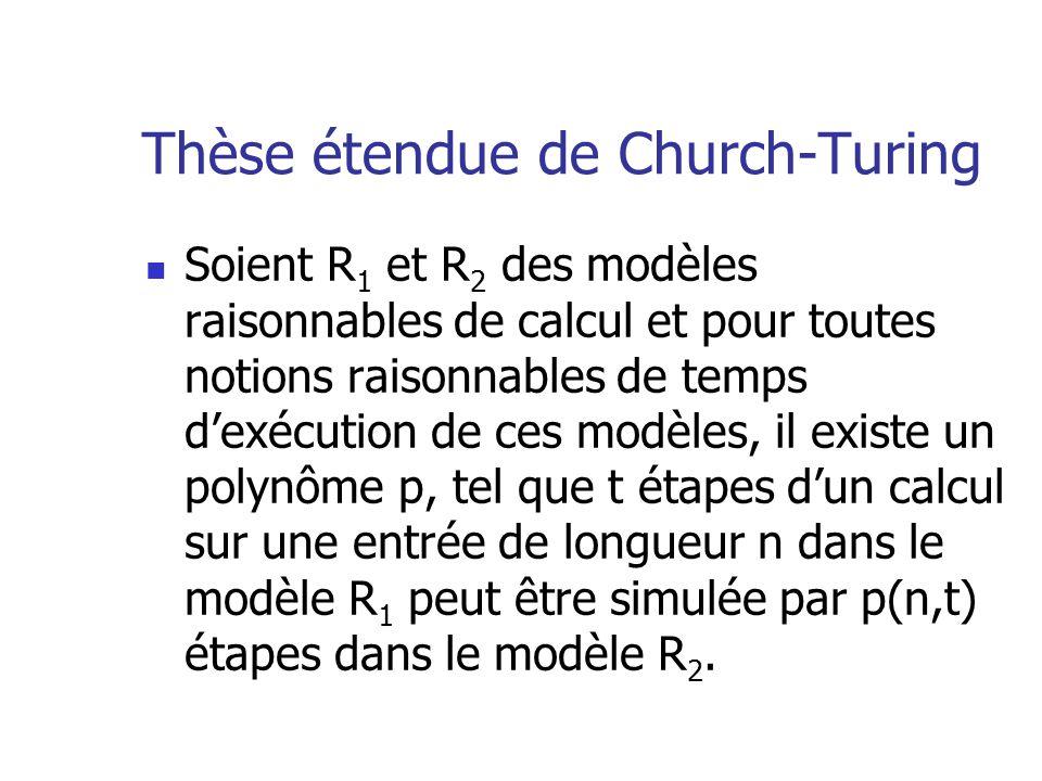 Thèse étendue de Church-Turing  Soient R 1 et R 2 des modèles raisonnables de calcul et pour toutes notions raisonnables de temps d'exécution de ces modèles, il existe un polynôme p, tel que t étapes d'un calcul sur une entrée de longueur n dans le modèle R 1 peut être simulée par p(n,t) étapes dans le modèle R 2.