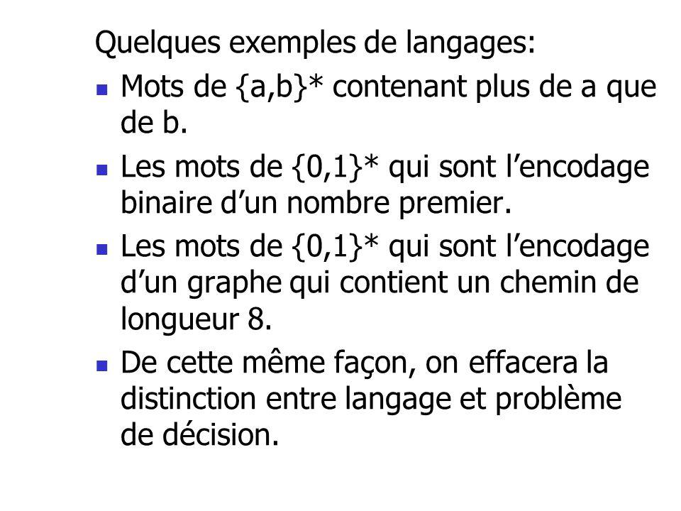 Quelques exemples de langages:  Mots de {a,b}* contenant plus de a que de b.